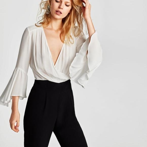 68fc5133d91 NWT Zara Black White Contrasting V Neck Jumpsuit
